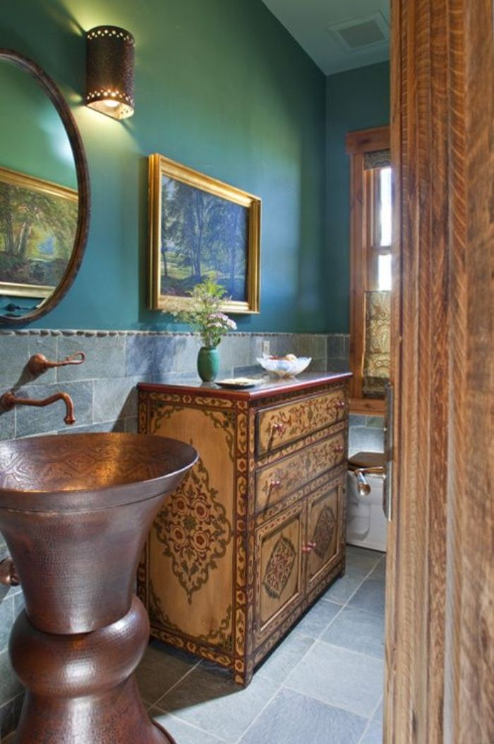 Copper and turquoise bathroom palette - marocco style bathroom vanity