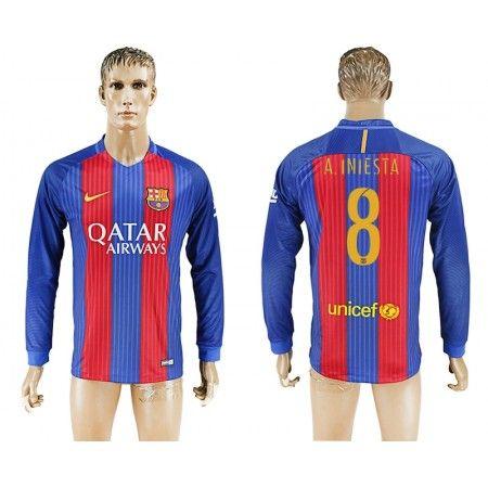 Barcelona 16-17 #Andres Iniesta 8 Hjemmebanesæt Lange ærmer,245,14KR,shirtshopservice@gmail.com