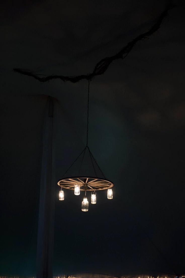 Wedding chandelier, mason jars, wagon wheel