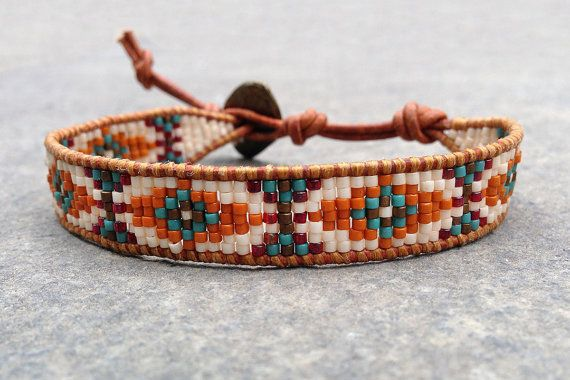 Aztec pattern orange and green miyuki delica seed beads leather cuff friendship bracelet