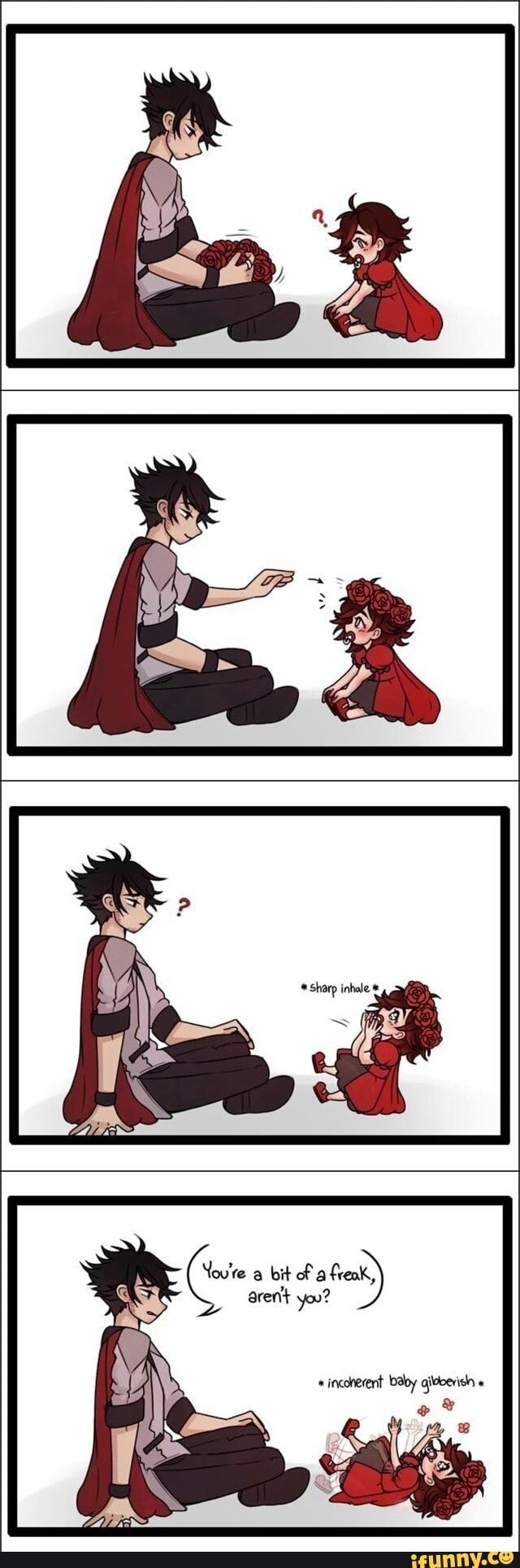 """You can't tell me Qrow didn't win Baby Ruby over by making her a rose flower crown, and sequentially turning her into his biggest adoring fan, you just can't ok!"" by evebun - Ruby & Qrow - http://evebun.tumblr.com/post/160820294231/you-cant-tell-me-qrow-didnt-win-baby-ruby-over"