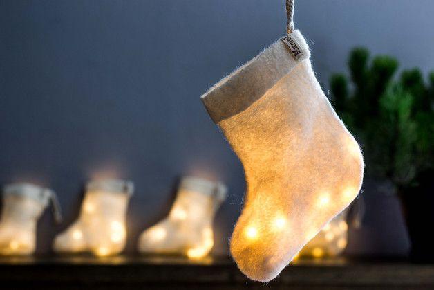 via en.dawanda.com Fairy Lights – Christmas Stocking Lamp Light Garland – a unique product by MamaUrsula on DaWanda