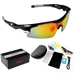 POSHEI P04 Polarized UV Protection Sports Glasses for Men or Women , Cycling Wrap Sunglasses with 5 Interchangeable Lenses Unbreakable , for Riding Driving Fishing Running Golf and Outdoor Activities (Black&Grey)