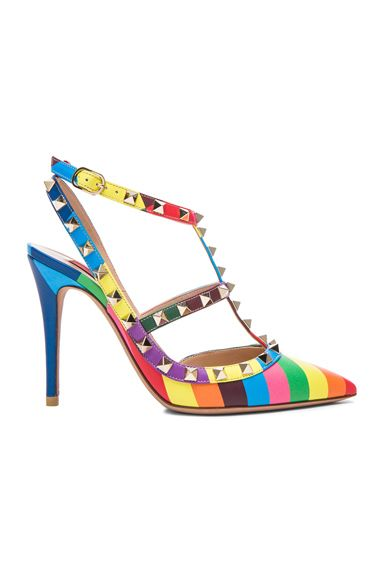 Valentino 1973 Rockstud Leather Slingbacks T.100 in Multi