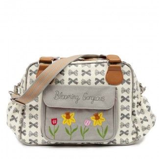 Pink Lining Blooming Gorgeous Nappy Bag - Grey Bows