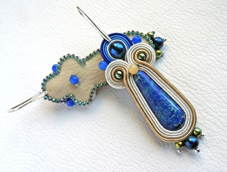 Soutache earrings with blue jasper - Lazurowe Wybrzeże 01 w VAKARAS Jewellery by Slomkad na DaWanda.com