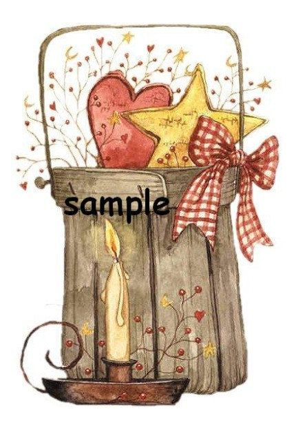 Primitive fixins basket and candle prim Custom Personalized Address Labels