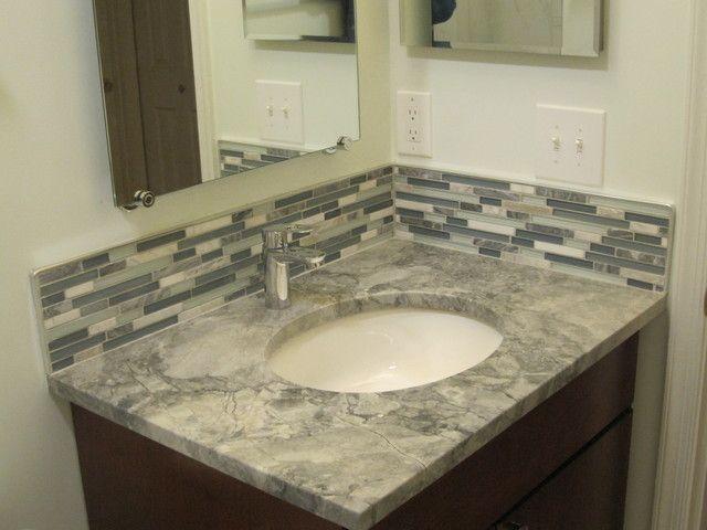 Tile Backsplash Ideas For The Bathroom : Quot backsplash behind vanity master bathroom ideas