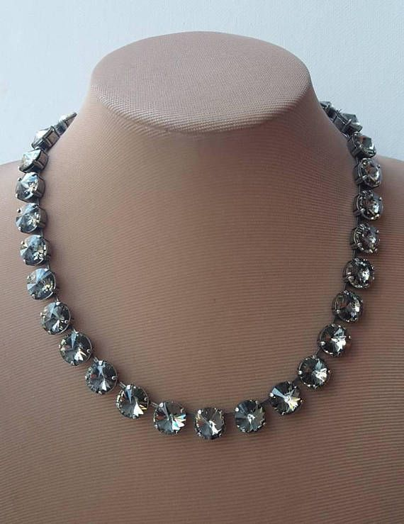 Check out this item in my Etsy shop https://www.etsy.com/ca/listing/583685023/swarovski-crystal-riviere-necklaceblack