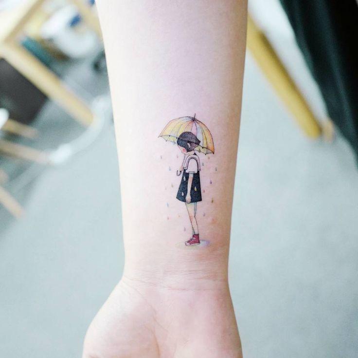 Inner Child Tattoo: Child Under The Rainy Umbrella Tattoo On The Inner Wrist