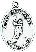 Tennis St. Christopher Pewter Ladies Sport Medal by Jeweled Cross