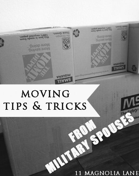 Organizing for a house move, tips and tricks to keep you sane from military spouses. Pin now for when you need to know! From 11Magnolialane.