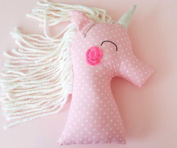 Unicorn nursery baby pillow plush toy pink polka by missJoyka