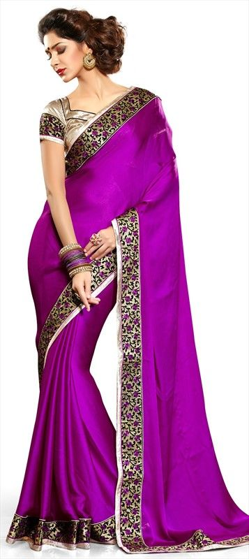 142486, Party Wear Sarees, Embroidered Sarees, Satin, Faux Chiffon, Border, Machine Embroidery, Purple and Violet Color Family