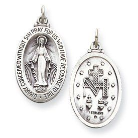 Sterling Silver Antiqued O Mary Miraculous Medal with 20in Stainless Steel Chain Goldfinger. $17.95. Reversible. Antique finish. Casted. Solid. Made in the USA. Save 48%!