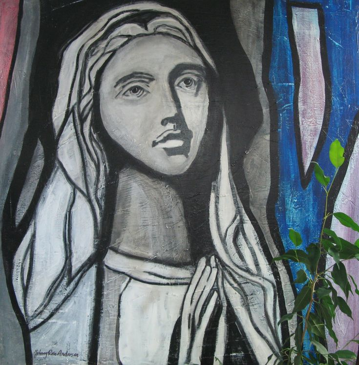 Maleri Madonna 100x100 cm