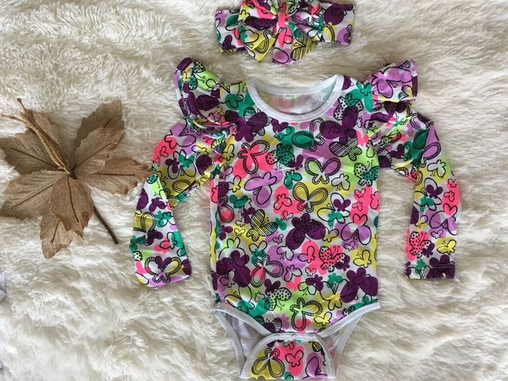 Long Sleeve Flutter Bodysuit | Leo   headwrap - Butterfly Floral