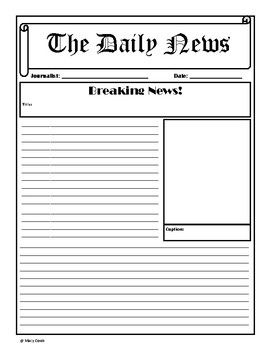 This Is An Outline For A News Report It Set Up Like Newspaper And Would Be Great Any Subject Area Multiple Grade Levels