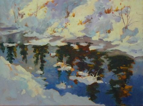 Winter's Mirror #2 oil painting by Sharon Lynn Williams, painting by artist Sharon Lynn Williams