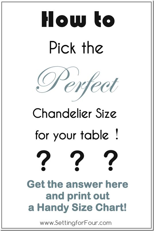 How To Pick The Perfect Chandelier Size With Printable Guide From Setting For Four