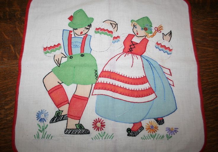 Vintage Handmade Pillow Cover Swiss German Dancers Embroidery Muslin Cotton Cheater Panel by AstridsPastTimes on Etsy