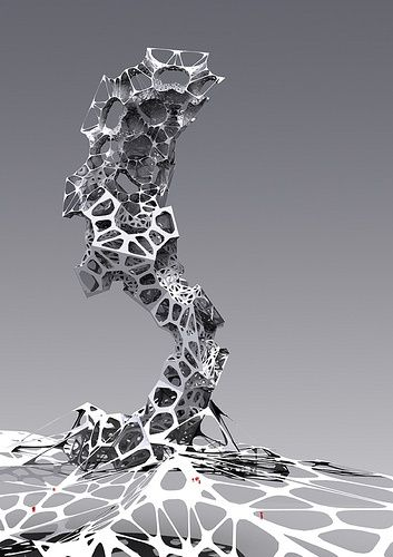 Parametric Design research.. Component transformation, from facet to curved surfaces...Generated by rhino Scripting