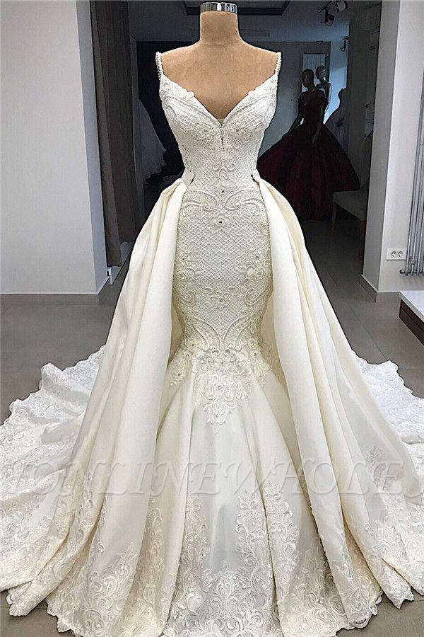 Mermaid Wedding Dresses Bridal Gowns Backless Sleeveless Sweep Train Lace Stain