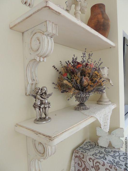 Полка для Вашего интерьера с консолью резьбой по дереву с стиле шебби-шик, прованс для Вашей комнаты, гостиной, спальни, кухни.