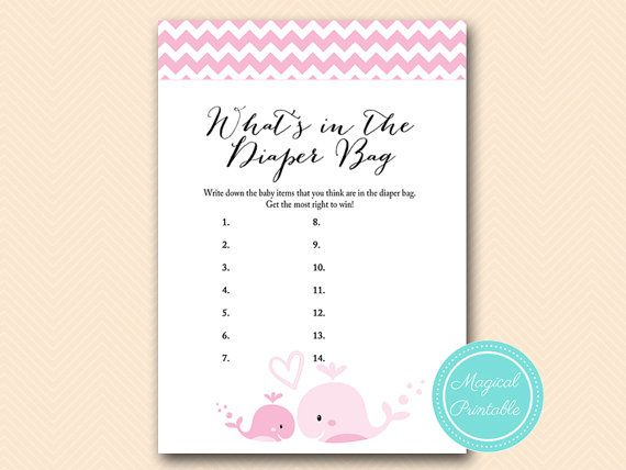 Whatu0027s In The Diaper Bag, Whatu0027s In The Bag Game, Baby Girl, Pink Whale Baby  Shower Games Printable, Baby Shower Activities, Download TLC117