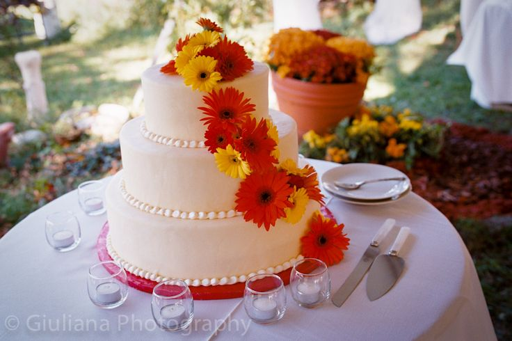 Yellow Red Wedding Cakes