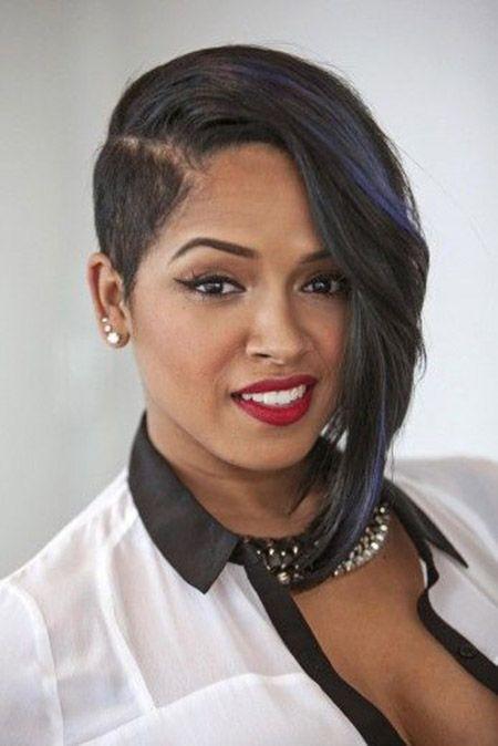 Short asymmetrical haircut black women