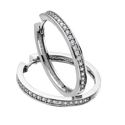 White or yellow gold diamond hoop earring, starting at $199 #ZekesWishList