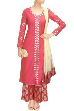 Pink and pale yellow gota patti work kurta set available only at Pernia's Pop-Up Shop.