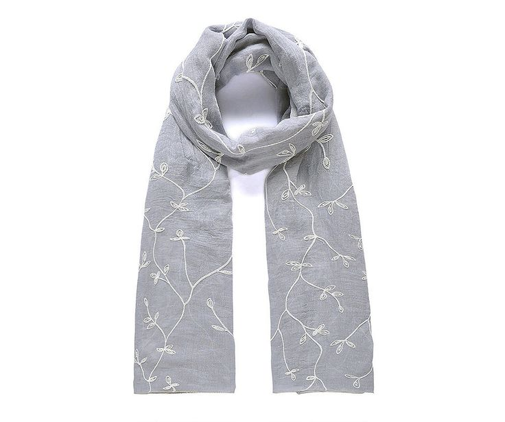 Grey/white leafy embroidered scarf