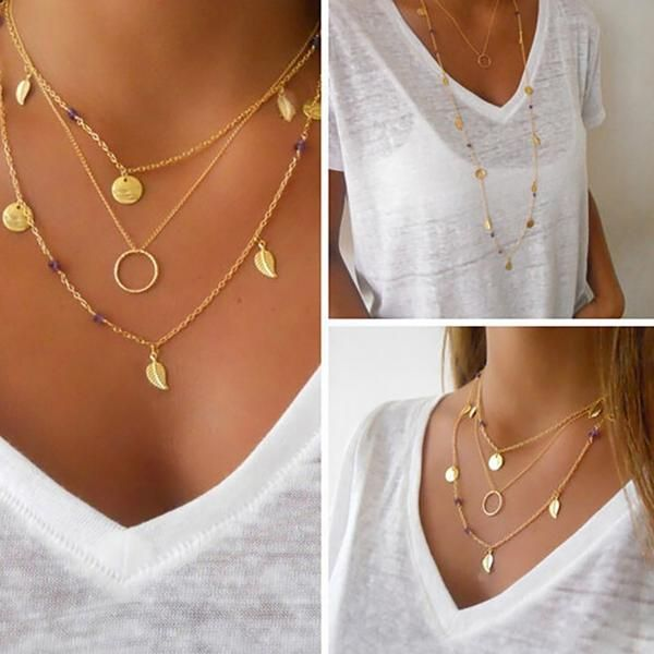 women Tassel Chain Bar Necklace Beads and Long Strip Pendant Necklaces