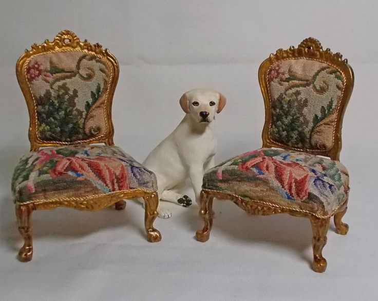 Pair of miniature antique petit point chairs, from Unique Miniatures - 1:12 scale