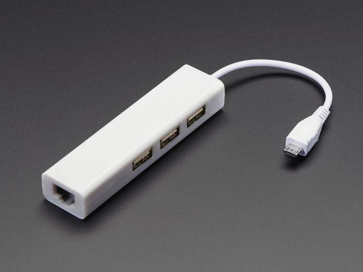 Ethernet Hub and USB Hub w/ Micro USB OTG Connector