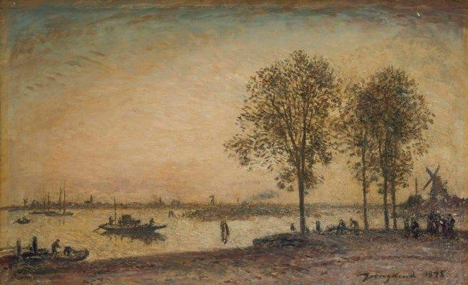 Johan Barthold Jongkind (1819-1891) | La Meuse et le Merweede devant Dordrecht, Hollande, Painted in 1878 | 20th Century, Paintings | Christie's