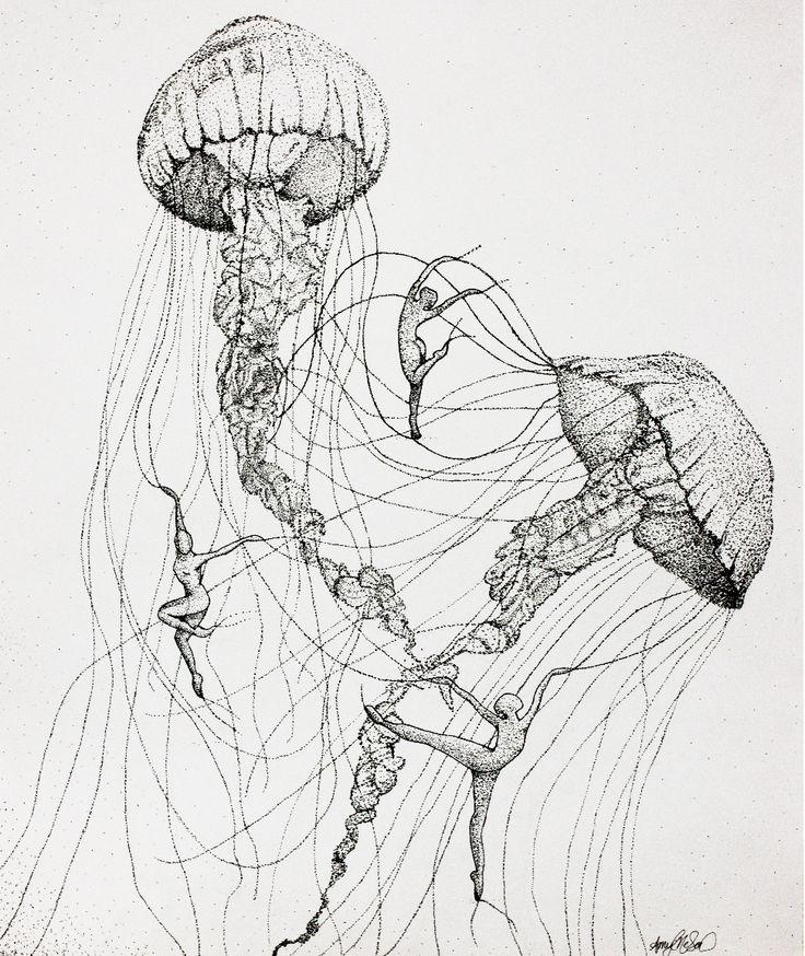 Jellyfish Dancers - stippling in ink by amygatorrr