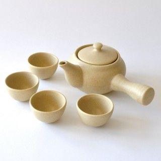 Teekannen-Set mit Becher aus Keramik, beige