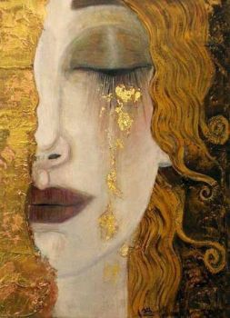 Freya's Tears by Gustav Klimt (63 pieces)/ thank you, RomANikki-2 •• ᗩᖇT for pointing out this truth: IT's NOT Gustav KLIMT WORK AT ALL!! | painting 'Larme d'or' by Anne Marie Zilberman | Imitation (Inspired) of Gustav Klimt.