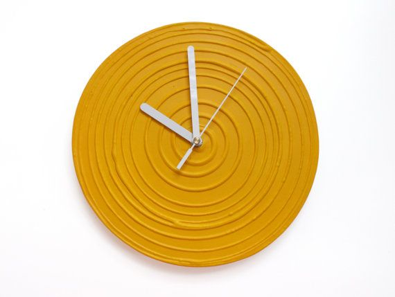 #sunyellow, #yellow #wallclock #interiordesign YELLOW WALL CLOCK Yellow Clock Sun Yellow Home Decor by PilipArt