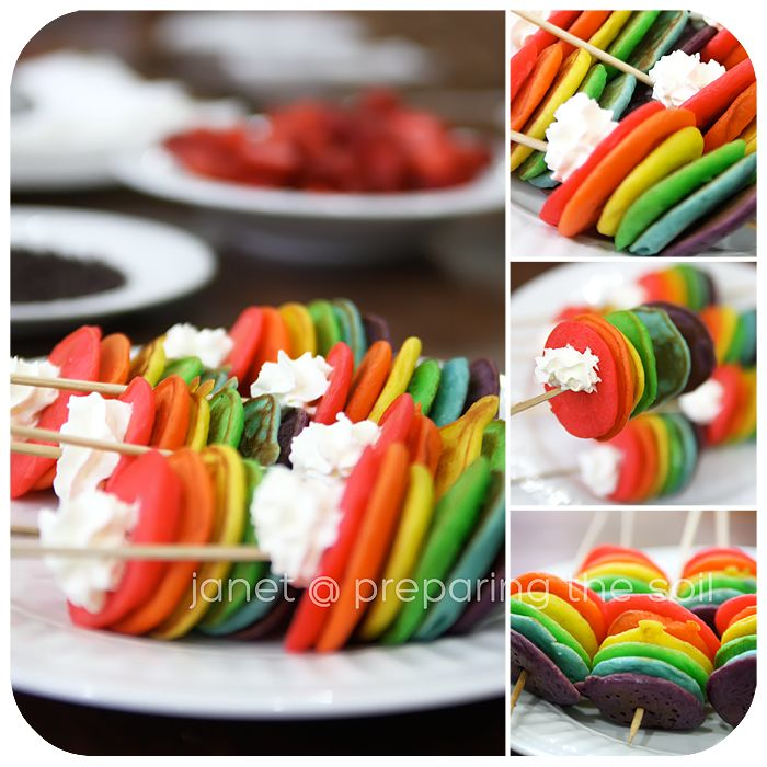 49 best recipe buffet party food on a stick images on rainbow pancakes to make rainbow pancakes i just make up my favorite pancake recipe forumfinder Choice Image