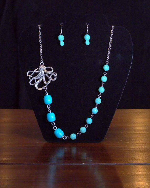 Tiffany Blue Beaded Octopus Necklace and Earrings on Etsy, $22.55 CAD