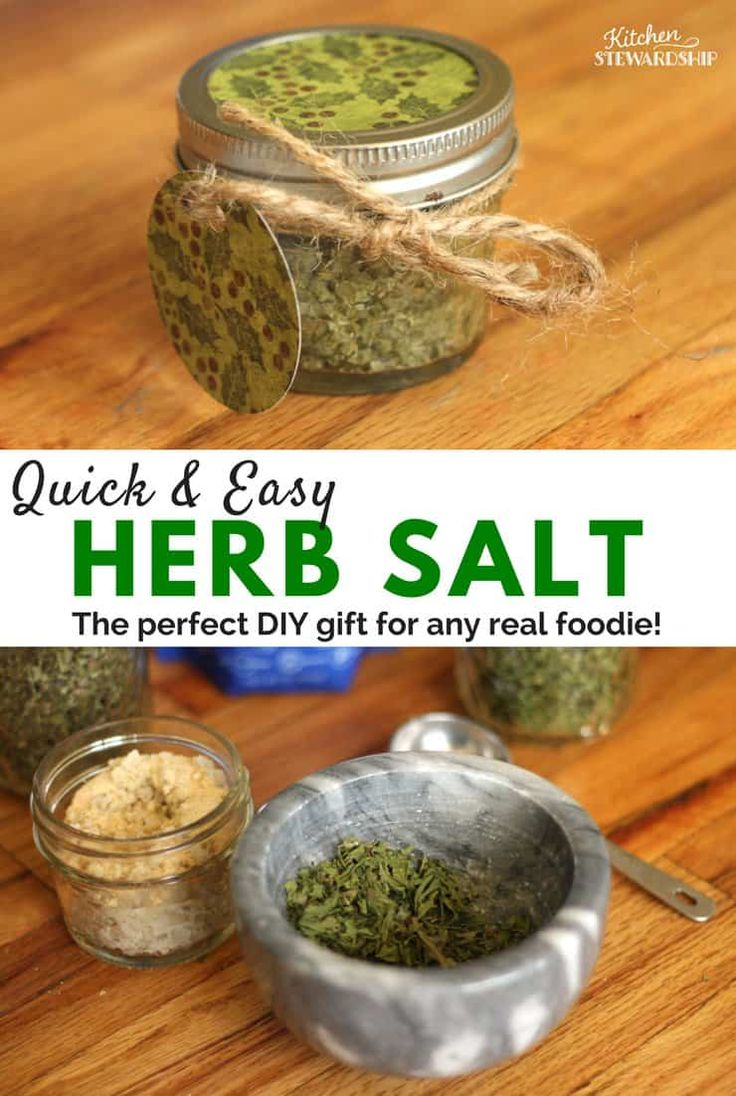 Homemade Herb Salt - an easy DIY gift you can give to everyone. Teachers, grandparents, friends, aunts and cousins will all love this delicious herb salt! Quick to make with ingredients you already have.
