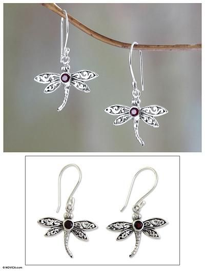 Handcrafted Indonesian Silver and Garnet Earrings - Enchanted Dragonfly | NOVICA
