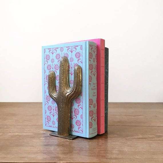 Vintage Brass Cactus Bookend  Southwestern by ShopShopModern