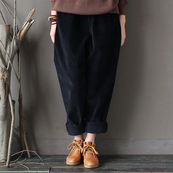 Осенне-зимняя Дамская обувь вельветовые утепленные брюки женский размер плюс карман брюки дамы свободные винтажные морковь брюки Ретро мода осень