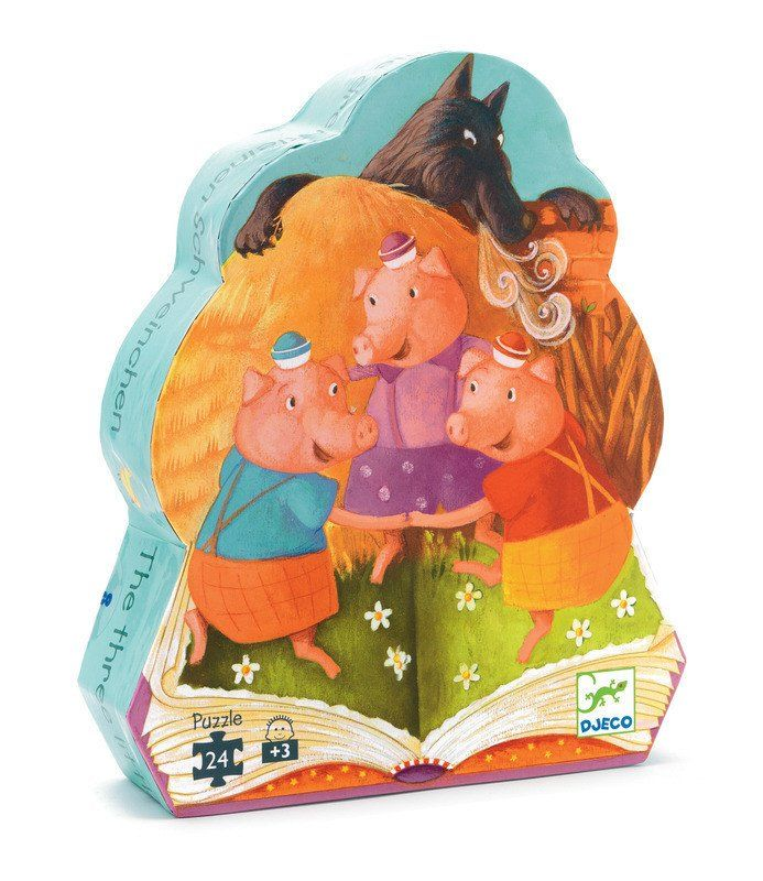 The Three Little Pigs Puzzle. A wonderfully illustrated jigsaw puzzle telling the story of the Three  Little Pigs. Presented in a pretty shaped box. 3+ years