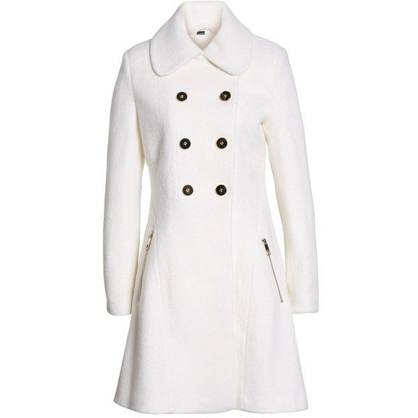 Women's Guess Double Breasted Boiled Wool Peacoat ($130) ❤ liked on Polyvore featuring outerwear, coats, jackets, petite, white, pea coats, white double breasted coat, double breasted coat, white coat and double breasted peacoat